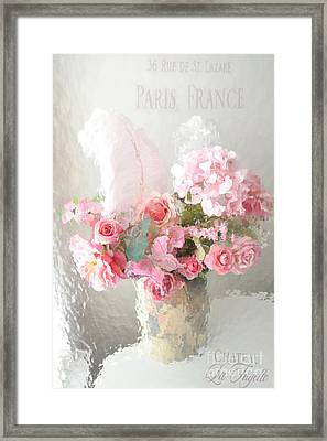 Shabby Chic Dreamy Pink Peach Impressionistic Romantic Cottage Chic Paris Floral Art Photography Framed Print by Kathy Fornal