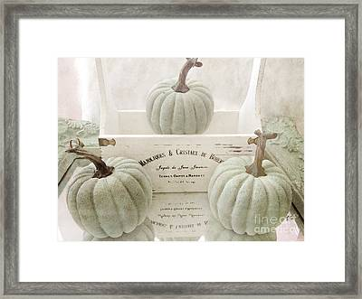 Shabby Chic Pastel White Vintage French Basket Of Pumpkins Framed Print by Kathy Fornal