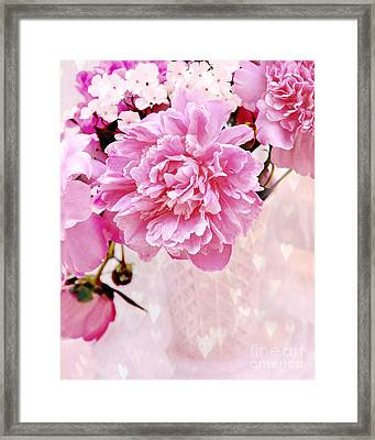 Shabby Chic Pink Peonies In Pink Vase - Dreamy Romantic Pastel Pink Peonies   Framed Print by Kathy Fornal