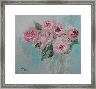 Shabby Chic Pink Roses Oil Palette Knife Painting Framed Print
