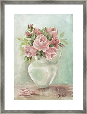 Shabby Chic Pink Roses Painting On Aqua Background Framed Print by Chris Hobel
