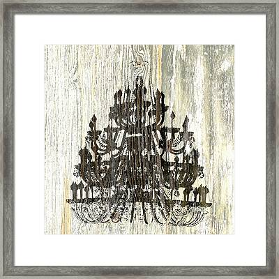 Shabby Chic Rustic Black Chandelier On White Washed Wood Framed Print by Suzanne Powers