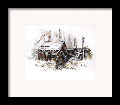 Old Barn Drawing Paintings Framed Prints