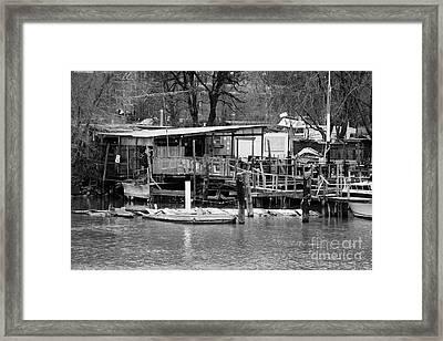 Shack And Jetty Built On The East River Near Harlem New York City Framed Print