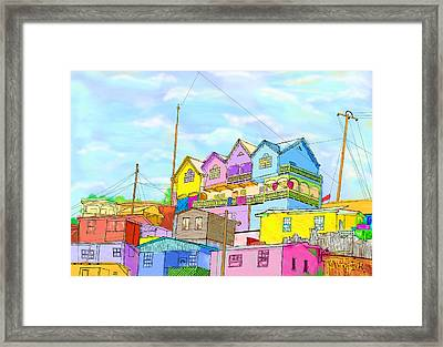 Shacks On The Hill Framed Print by Gerry Robins