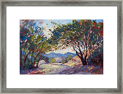 Framed Print featuring the painting Shaded Path by Erin Hanson