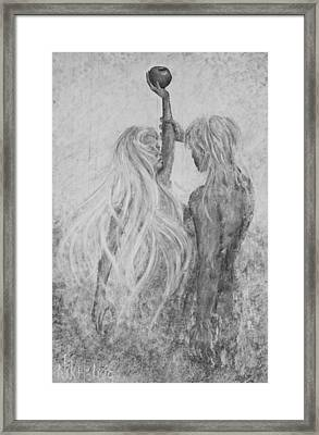 Framed Print featuring the painting Shades Of Gray - Adam And Eve by Nik Helbig