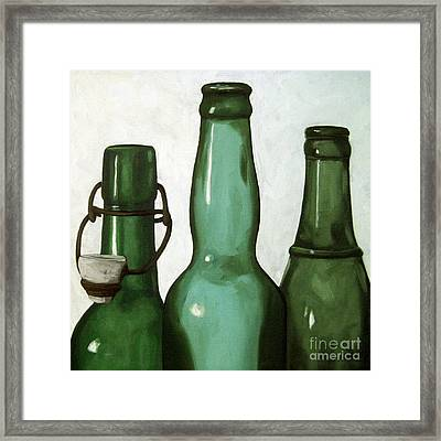 Shades Of Green - Bottles Framed Print by Linda Apple