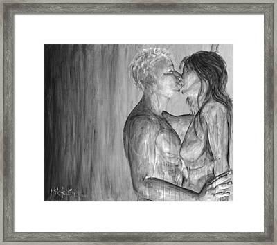 Shades Of Grey - Erotic Nude Lovers Framed Print by Nik Helbig