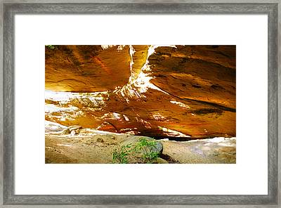 Shades Of Light Shadow And Texture On Cliff Wall Framed Print