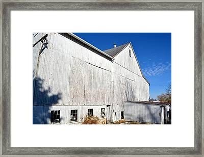 Shadow On White Barn Framed Print
