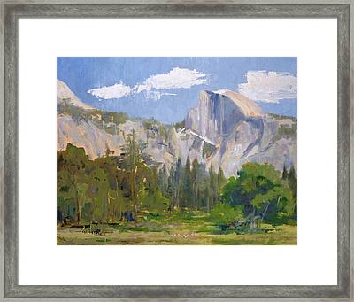 Shadow Over Half Dome Framed Print by Sharon Weaver