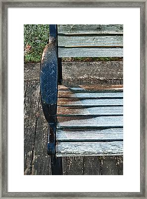 Shadow Protecting Frost On Bench Framed Print by Gary Slawsky