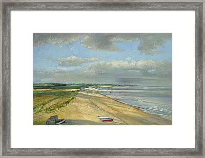 Shadowed Crescent, Dunwich Oil On Canvas Framed Print by Timothy Easton