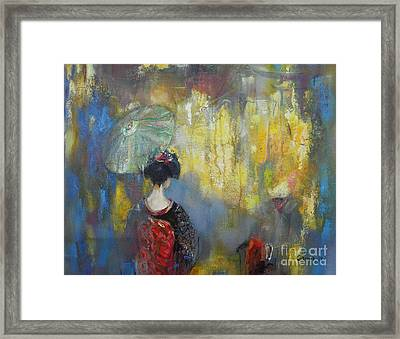 Shadows And Lights In Kyoto  Framed Print