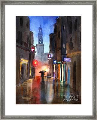 Shadows In The Rain  Framed Print by Mohamed Hirji