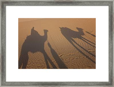 Shadows Of A Camel Train, Thar Desert Framed Print