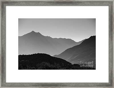 Shadows Of Peaks Framed Print