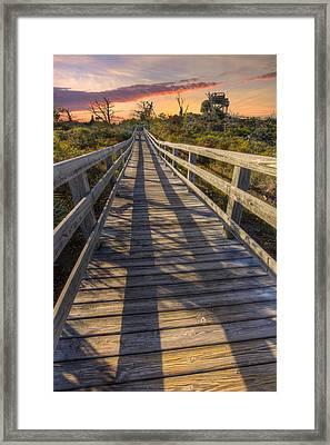 Shadows On The Boardwalk Framed Print