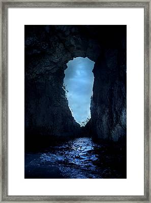 Shadowy Grotto - Malta Framed Print