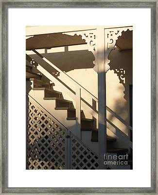Shadowy Lambertville Stairwell Framed Print by Anna Lisa Yoder