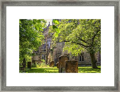 Shady Green Churchyard At Warwick Framed Print