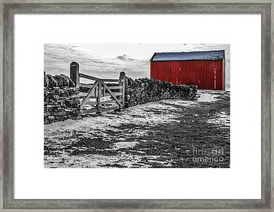 Shakertown Red Barn - Sc Framed Print