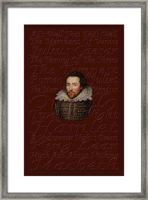 Shakespeare Framed Print by Andrew Fare