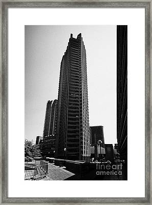 Shakespeare Tower In The Barbican Residential Estate London England Uk Framed Print by Joe Fox