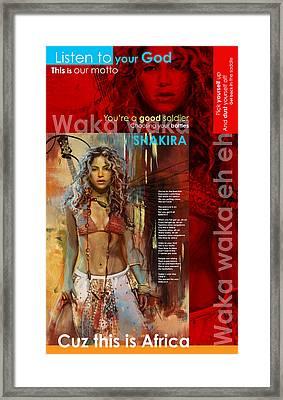 Shakira Art Poster Framed Print by Corporate Art Task Force