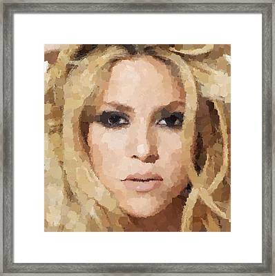 Shakira Portrait Framed Print by Samuel Majcen