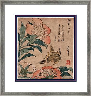 Shakuyaku Kana Ari, Peony And Canary. 1833 Or 1834 Framed Print by Hokusai, Katsushika (1760-1849), Japanese
