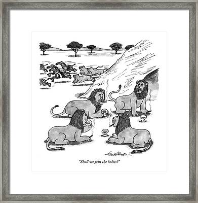 Shall We Join The Ladies? Framed Print by J.B. Handelsman