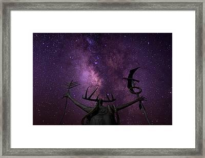 Shaman Calling Upon The Universe Framed Print