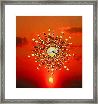 Framed Print featuring the digital art Shaman Sun by Mary Anne Ritchie