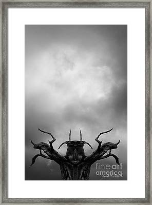 Shamanic Tree And Clouds Framed Print by David Gordon