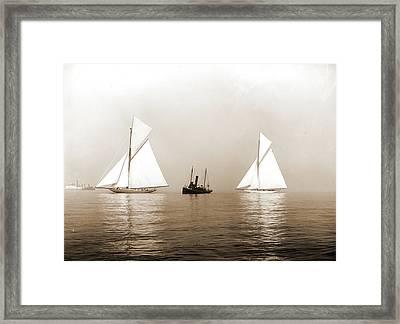 Shamrock I And Columbia, Becalmed In Fog, Shamrock I Yacht Framed Print