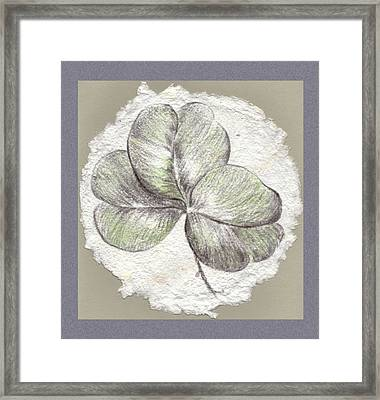 Shamrock On Handmade Paper Framed Print by MM Anderson