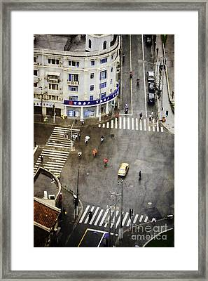 Shanghai China Big City Urban Scene From Above Framed Print by Jani Bryson