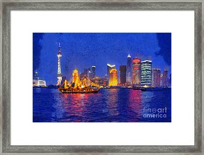 Shanghai During Dusk Time Framed Print
