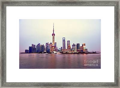 Shanghai Pudong Cityscape At Sunset Framed Print by Fototrav Print