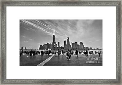 Shanghai Skyline Black And White Framed Print