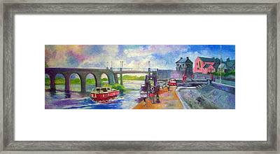 Framed Print featuring the painting Shannon Bridge Co Offaly by Paul Weerasekera