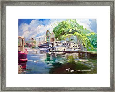 Framed Print featuring the painting Shannon Harbour Co Offaly Ireland by Paul Weerasekera