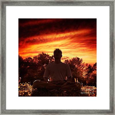 Shaolin Kung Fu Instructor Meditating In The Nature During Sunri Framed Print