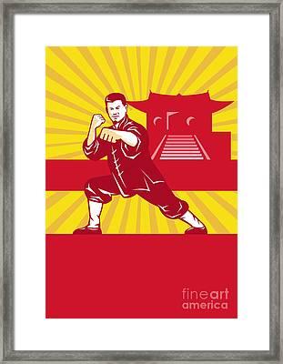 Shaolin Kung Fu Martial Arts Master Retro Framed Print
