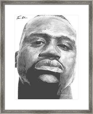 Framed Print featuring the drawing Shaq by Tamir Barkan
