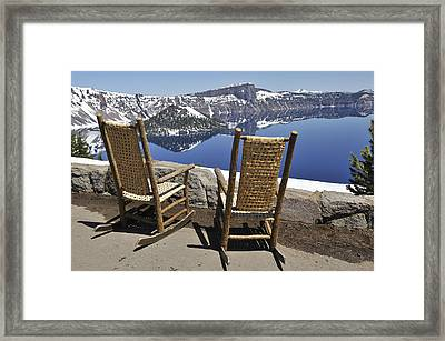 Share A Moment At Crater Lake Oregon Framed Print by Clay and Gill Ross