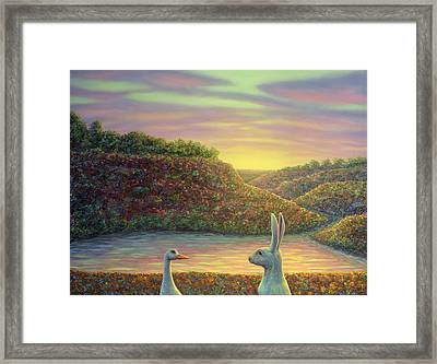 Sharing A Moment Framed Print by James W Johnson