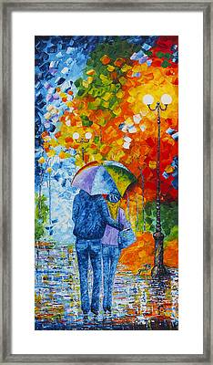 Framed Print featuring the painting Sharing Love On A Rainy Evening Original Palette Knife Painting by Georgeta Blanaru